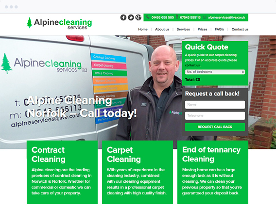 Alpine Cleaning Website Home Page